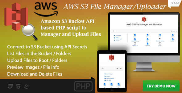 AWS S3 File Manager and Uploader - S3 Bucket API based PHP Script
