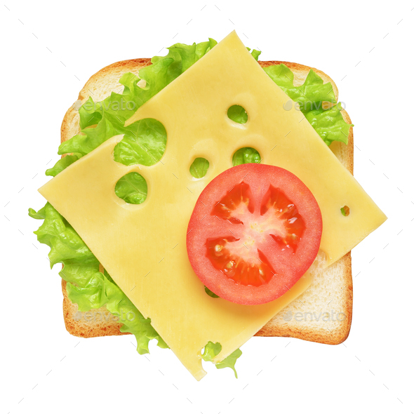 Toast sandwich bread with tomatoes, lettuce and cheese isolated - Stock Photo - Images