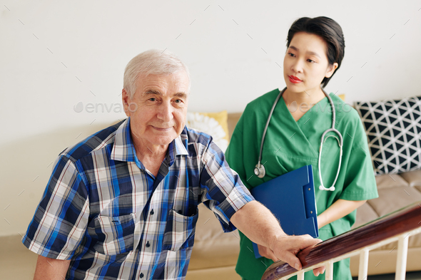Senior man happy to be able to walk again - Stock Photo - Images