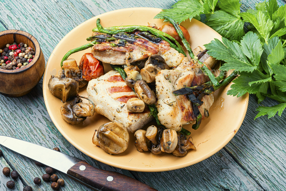 Grilled meat with mushrooms - Stock Photo - Images