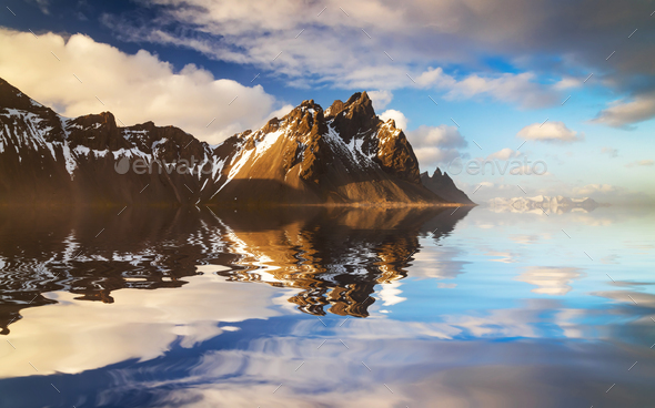 Sunset at Vestrahorn Mountain and Stokksnes beach. Iceland - Stock Photo - Images