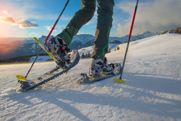 Mountains snowshoeing - Stock Photo - Images
