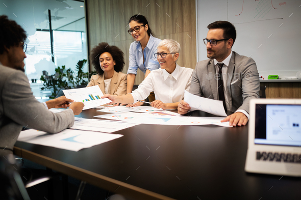 Corporate business team and manager in a meeting - Stock Photo - Images