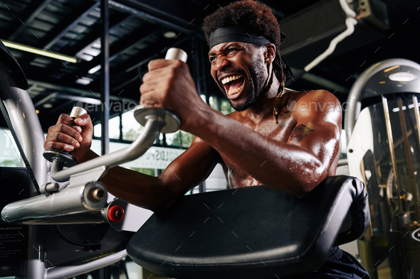 Sportsman shouting to encourage himself - Stock Photo - Images