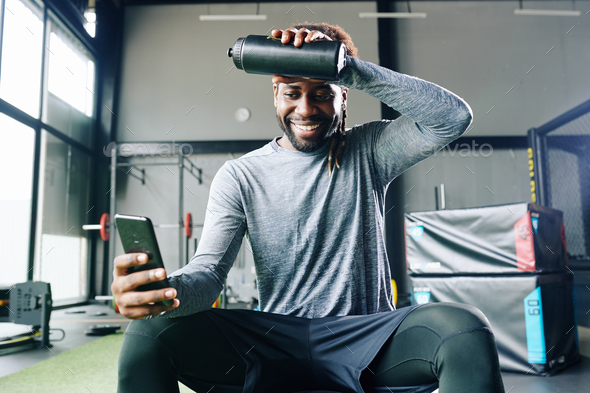 Man following guide in fitness application - Stock Photo - Images