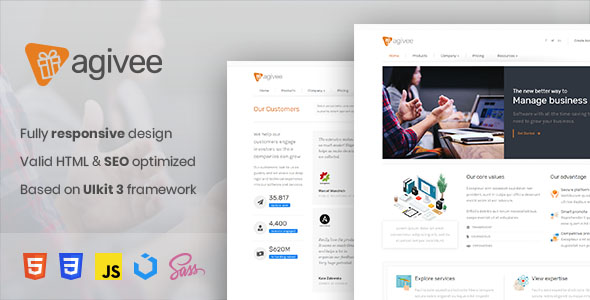 Free Download Agivee - Corporate Business HTML Template Nulled Latest Version