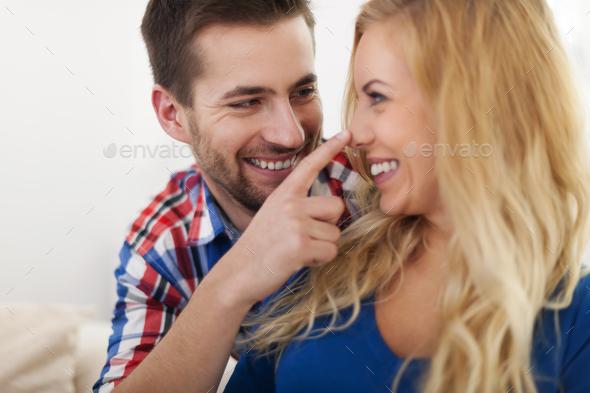 Portrait of flirting beautiful couple - Stock Photo - Images