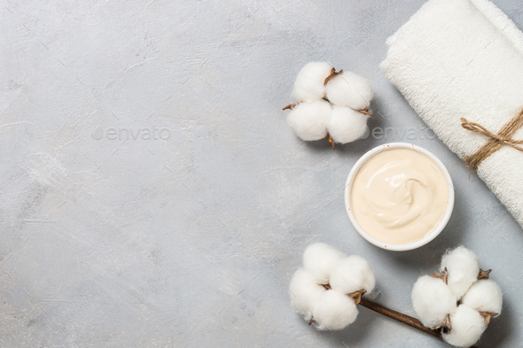 Clay mask and towel, skincare product - Stock Photo - Images