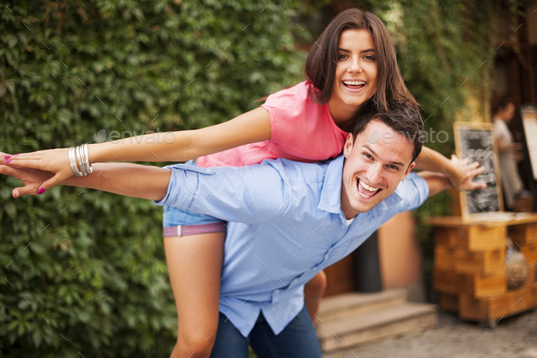 Young couple have fun during the date - Stock Photo - Images