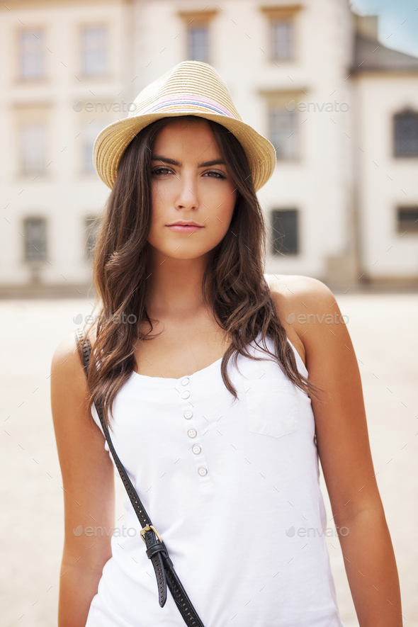 Portrait of beautiful summer girl - Stock Photo - Images