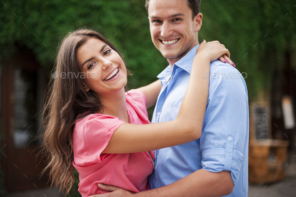 Young couple having a great time together - Stock Photo - Images