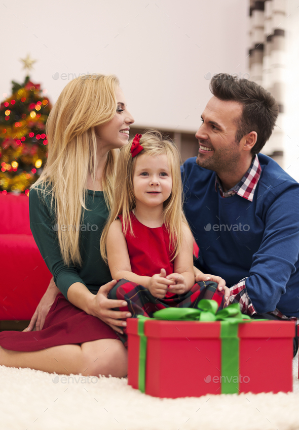 Young marriage with their daughter spending christmas together - Stock Photo - Images