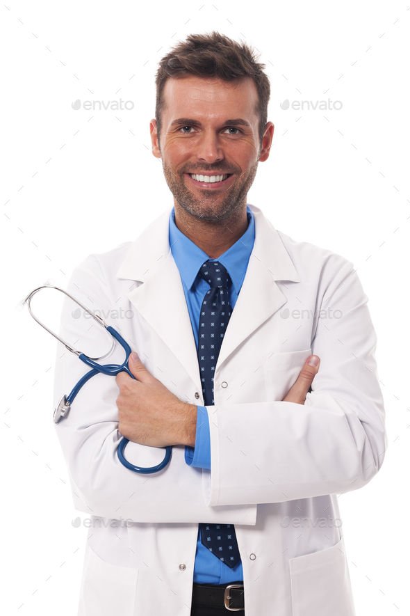 Portrait of attractive male doctor - Stock Photo - Images