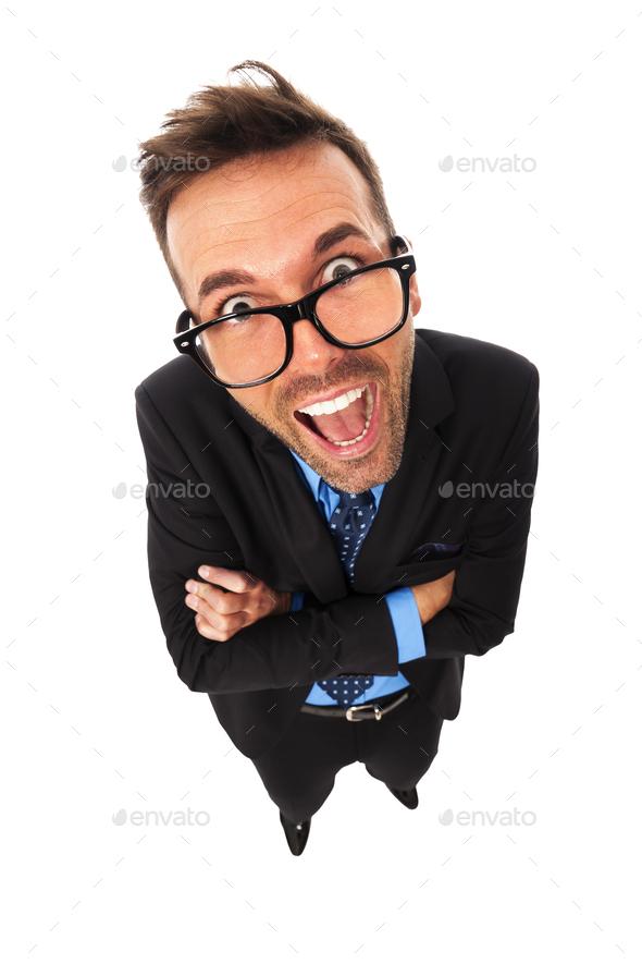 Portrait of funny businessman - Stock Photo - Images
