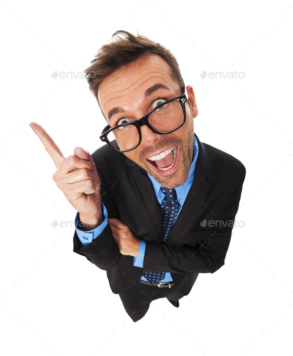 Funny business man has very good idea - Stock Photo - Images