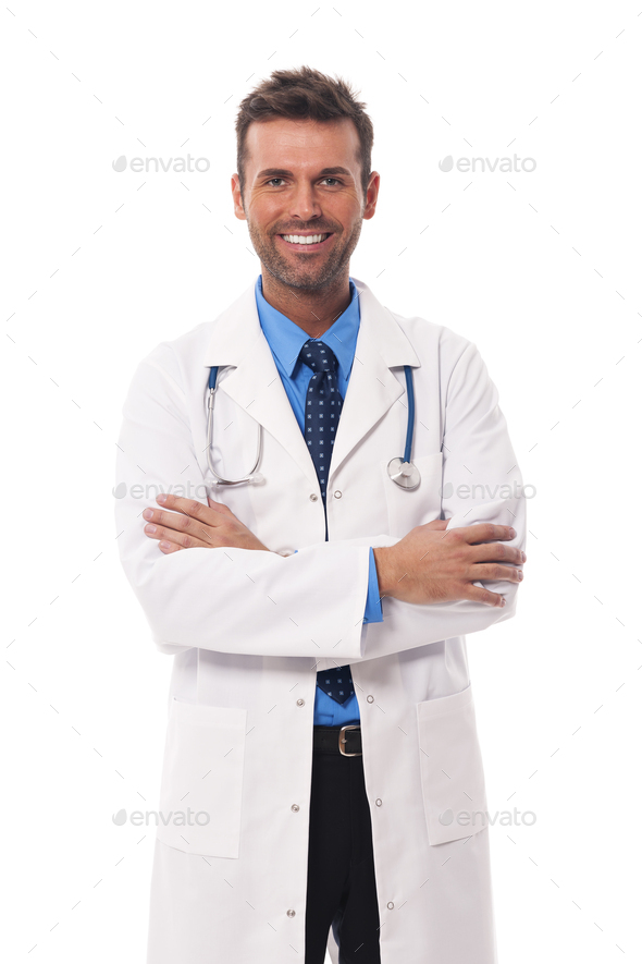 Portrait of candid male doctor - Stock Photo - Images