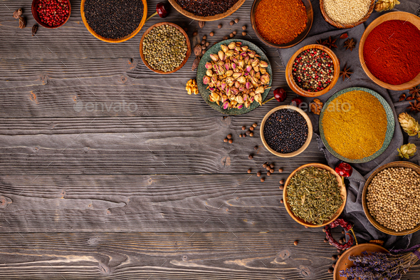 Indian spices and herbs - Stock Photo - Images
