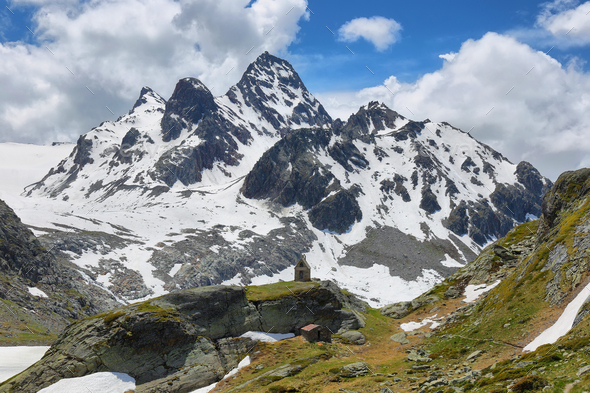 Mountain range view on the way to Rutor Glacier, Aosta Valley, Italy - Stock Photo - Images