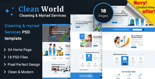 Clean World | Cleaning and Myriad Service PSD Template