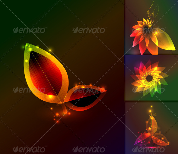 Glowing Flower Background Pack - Flourishes / Swirls Decorative