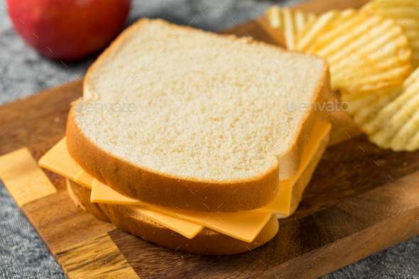 Homemade American Cheese Sandwich - Stock Photo - Images