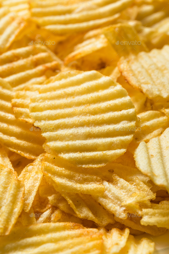 Organic Salted Wavy Potato Chips - Stock Photo - Images