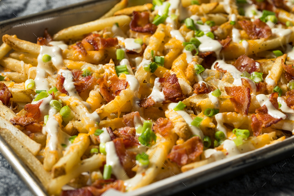 Homemade Bacon Cheddar Ranch Fries - Stock Photo - Images
