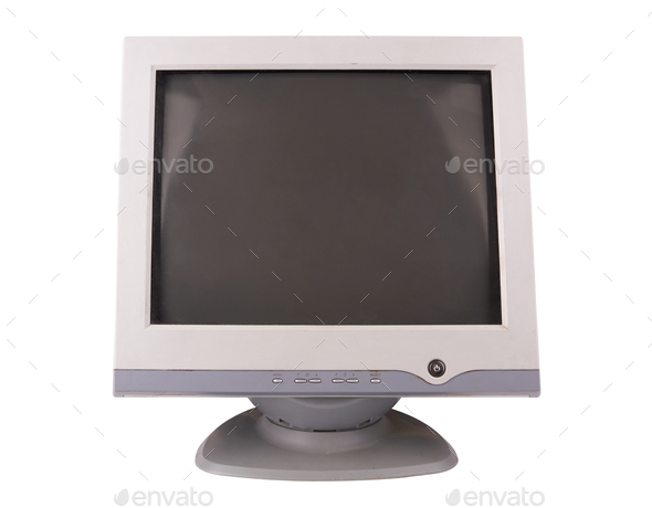 old computer monitor isolated on white background - Stock Photo - Images