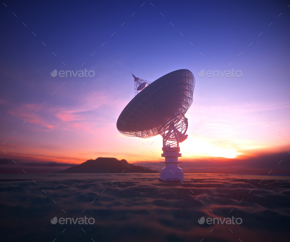 Antenna Satellite Dish Clipping Path Included - Stock Photo - Images