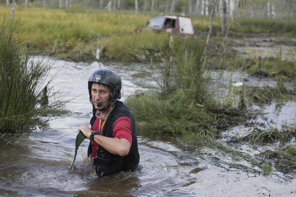 Off road sport, cars overcome the swamp - Stock Photo - Images