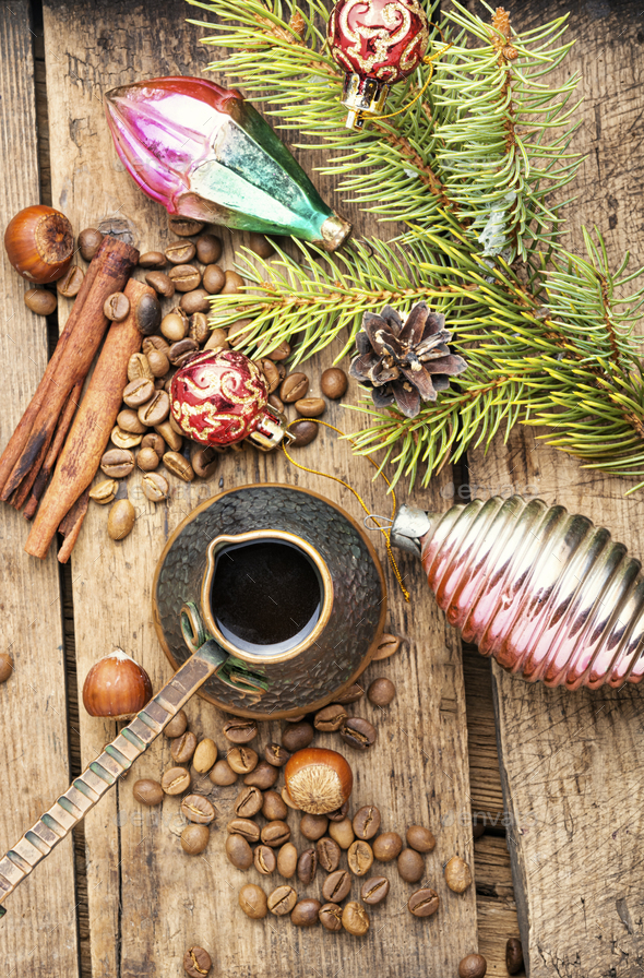 Christmas toy and coffe - Stock Photo - Images