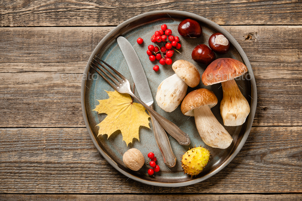 Autumn holiday concept. Thanksgiving setting table - Stock Photo - Images