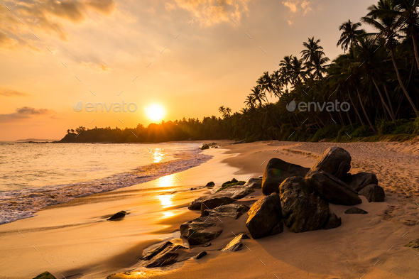 Beautiful sunset on the beach with palms on a Philippines - Stock Photo - Images