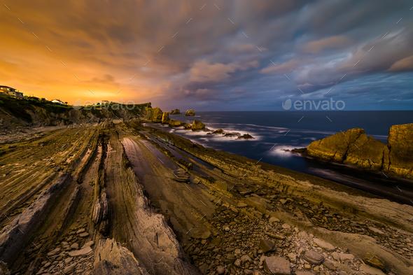 Dramatic view of Playa de la Arnia, Cantabria, Spain - Stock Photo - Images