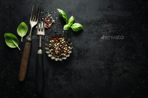 Vintage old rustic cutlery on dark background - Stock Photo - Images