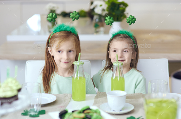 Portrait of siblings at irish party - Stock Photo - Images