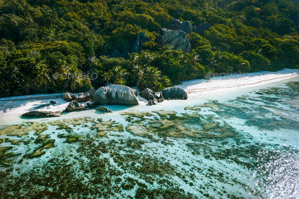 Anse Source d'Argent beach at La Digue island, Seychelles from drone aerial perspective - Stock Photo - Images