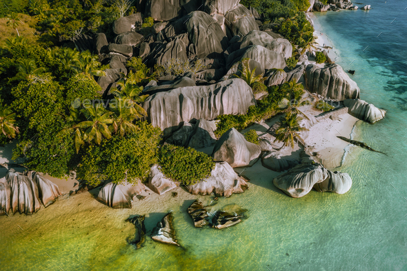 Aerial view of tropical beach Anse Source d'Argent at La Digue island, Seychelles - Stock Photo - Images