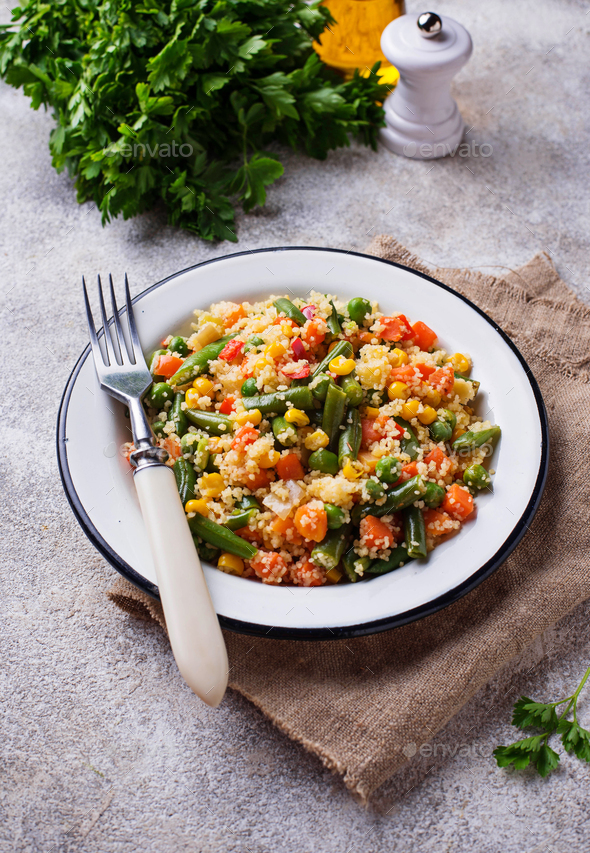 Vegetarian dish couscous with vegetables - Stock Photo - Images