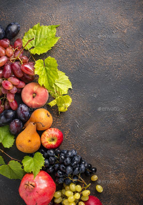 Various autumn fruits. Harvest concept - Stock Photo - Images