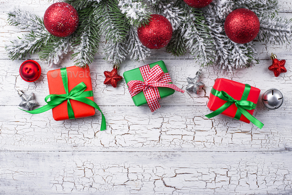Gift boxes, candy cane and tree - Stock Photo - Images