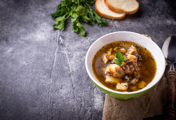 Vegetarian  soup with mushroom and vegetable - Stock Photo - Images