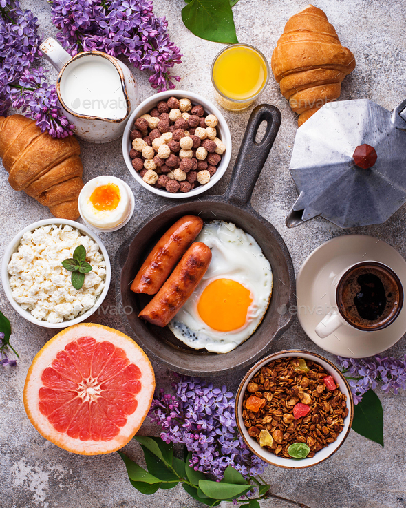 Set of various healthy breakfast - Stock Photo - Images