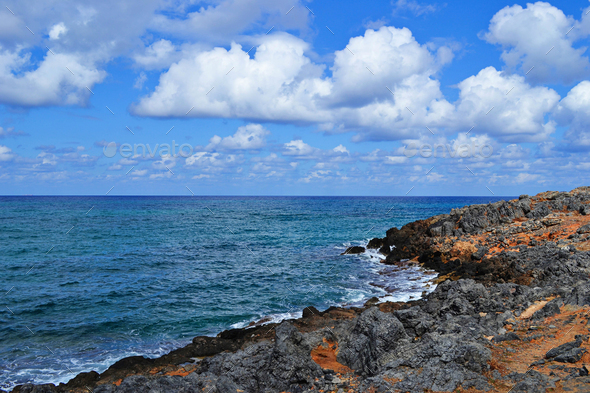 Beautiful landscape with sea and rock - Stock Photo - Images