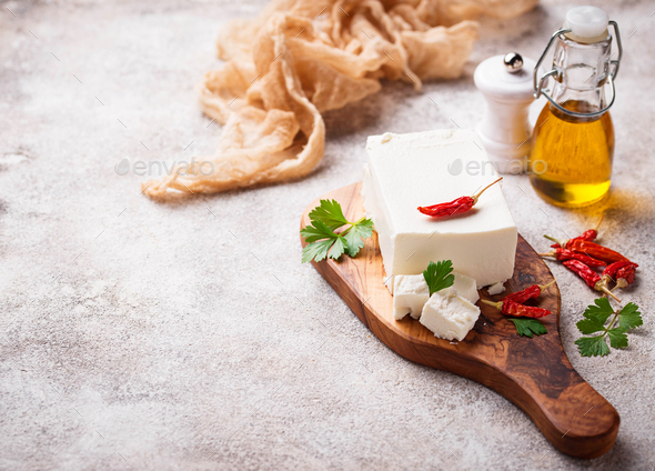 Fresh feta cheese with spices - Stock Photo - Images