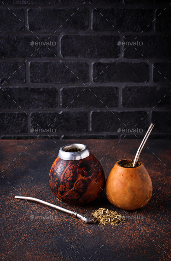 Yerba mate tea with calabash and bombilla - Stock Photo - Images