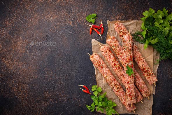 Minced meat skewers lula kebab - Stock Photo - Images