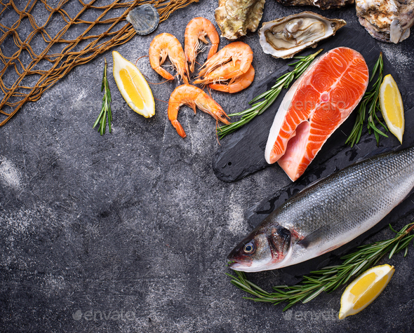 Salmon, seabass, shrimps and oysters - Stock Photo - Images