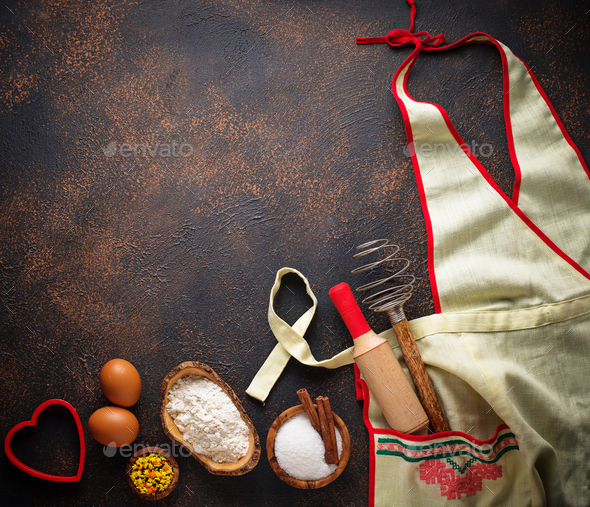 Ingredients for baking and apron - Stock Photo - Images