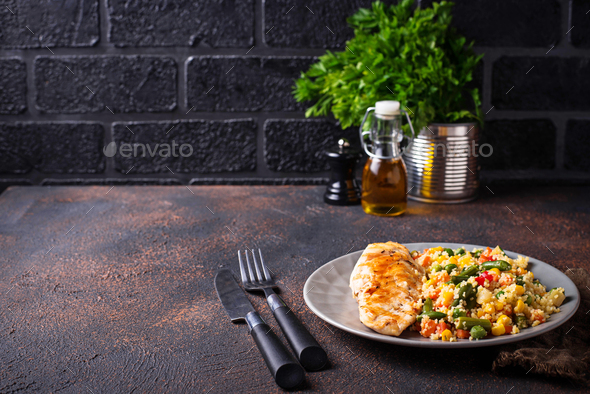 Grilled chicken fillet with vegetables - Stock Photo - Images